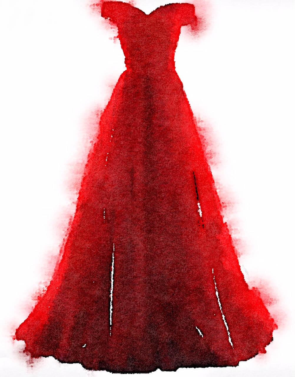 du siehst ein rotes Aquarell Kleid von Dodo Kresse