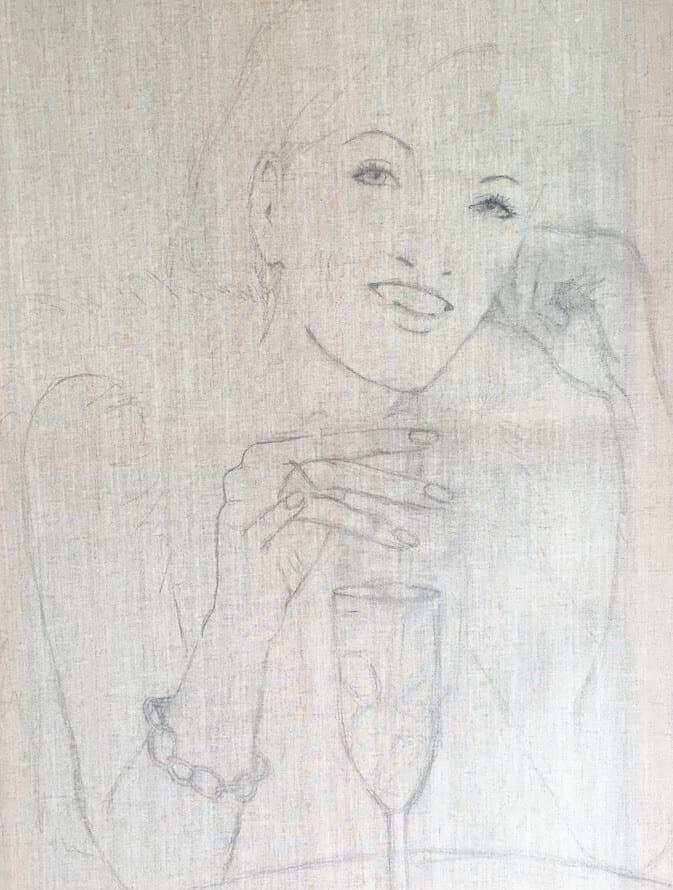 du siehst die Vorzeichnung des Acrylbildes Just another Drink in Bleistift