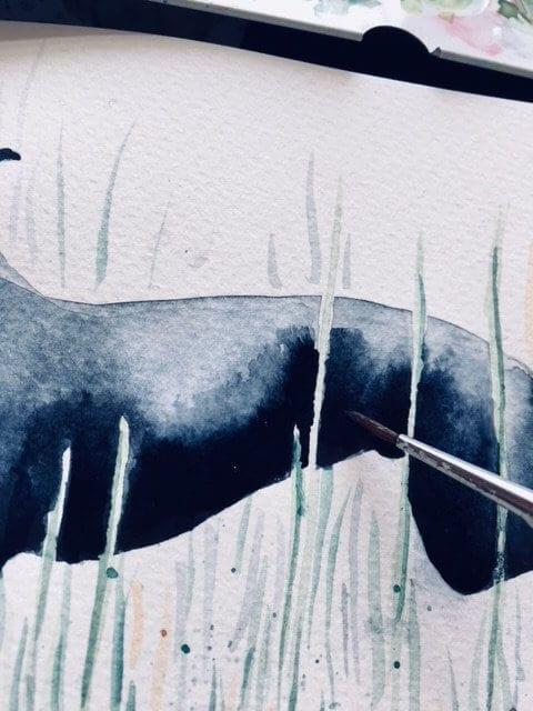 Du siehst hier wie Dodo die Lunge des Whippet malt