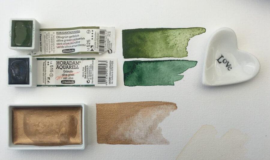 Grün und Gold für das Aquarell Waldfräulein