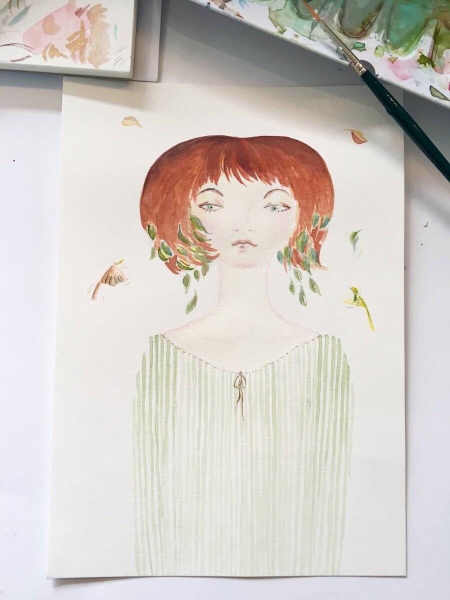 Man sieht das fertige Bild Waldfräulein