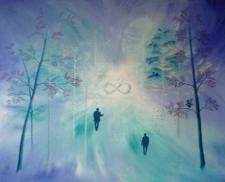 "Man sieht ein Acrylbild von Dodo Kresse namens ""Infinity"""
