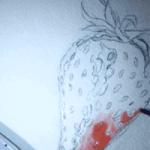 Man sieht ein Aquarell einer Erdbeere der Künstlerin Dodo Kresse