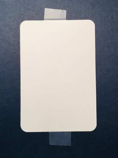 Man sieht eine Aquarellpostkarte, die mit Tixo auf eine Malplatte aufgeklebt wurde.