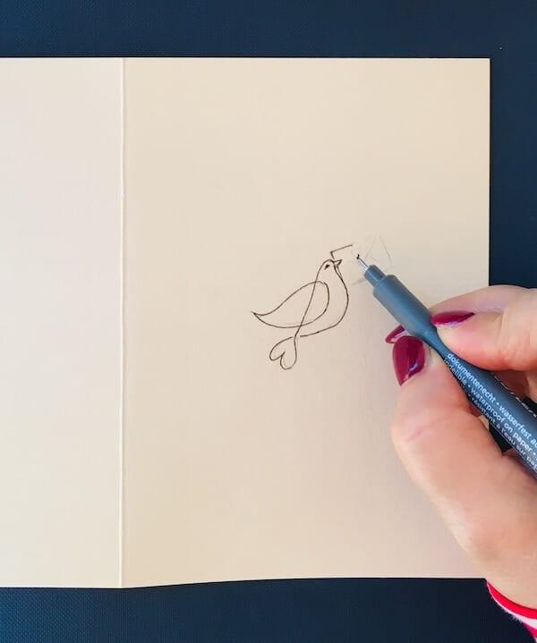 Valentinskarte: Man sieht das Nachziehen der Taube mit Fineliner.
