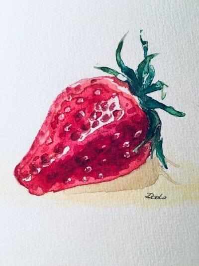 Man sieht eine Erdbeere
