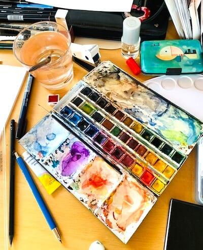 Ein Blick auf meinen Atelier-Platz, hier male ich am liebsten.