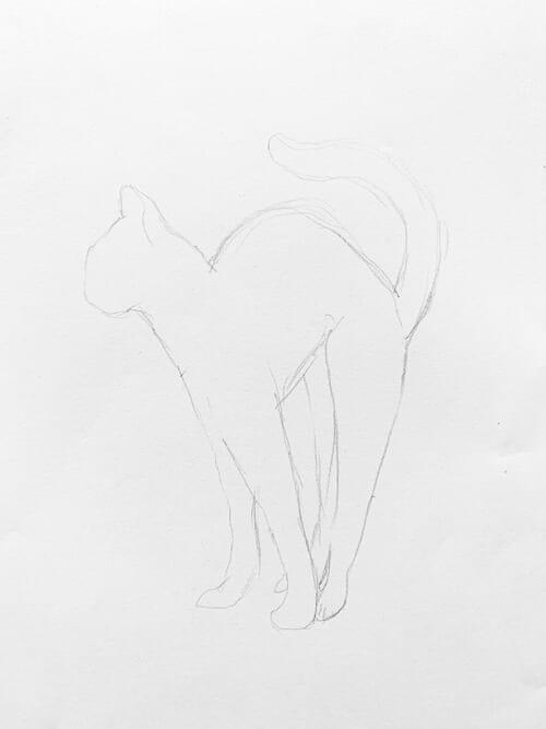 Du siehst die Vorzeichnung der Bengal Katze in Bleistift