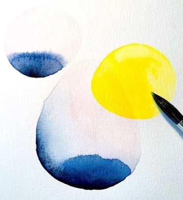 Hier siehst du den Beginn einer Abstraktion eines Aquarell Bildes von Dodo Kresse, zwei blaue und ein gelber Kreis