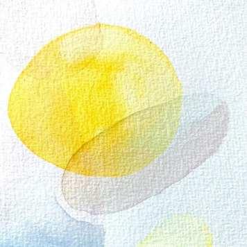 Hier siehst du eine gelbe Ellipse und eine rosa und eine blaue. Die abstrakten Formen liegen übereinander und erzeugen so den Zauber des abstrakten Aquarells