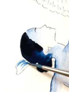 Du siehst wie Dodo den Kamm der Tango Tänzerin mit Aquarellfarbe malt