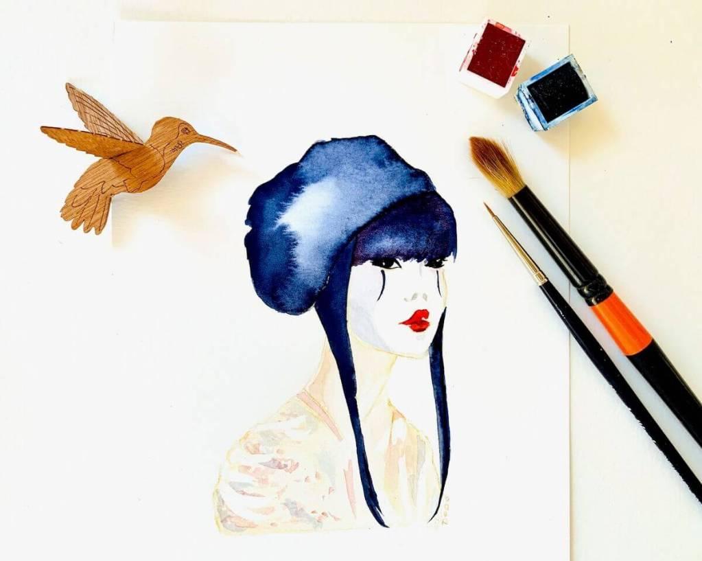 du siehst hier das fertige aquarell der geisha. es ist mit aquarellfarben gemalt. wie das funktioniert, zeigt dir die unten stehende schritt-anleitung