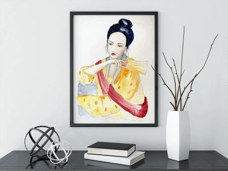 du siehst ein Portrait einer Asiatin, mit Aquarellfarben koloriert