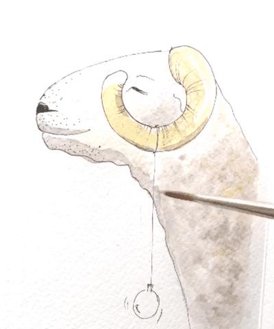 Du siehst wie ich mit Paynesgrau das Fell des Schafs male