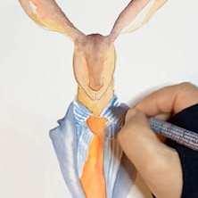 Du siehst wie ich mit dem Microliner die Outline des Dandy Osterhasen zeichne