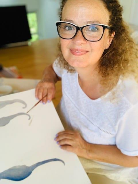 du siehst ein bild von dodo kresse beim malen
