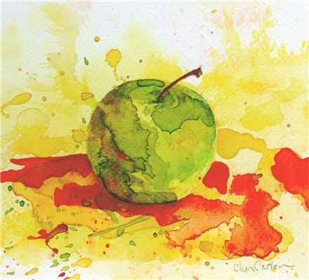 Green Apple.  Watercolor study by Chris Carter