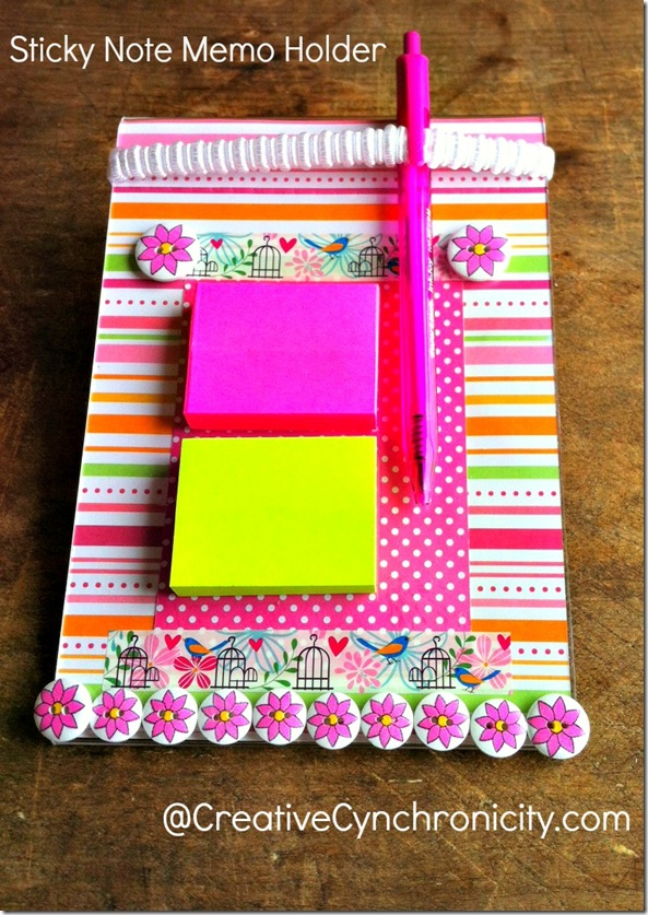 This sticky note memo pad holder is so handy! Keeps your sticky notes and pen right at hand. Quick and easy to make and very inexpensive. Makes a great gift. How about for Teacher Appreciation or Mother's Day?
