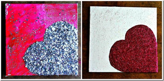 glitter heart art canvases