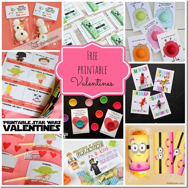 Free printable Valentines Perfect for last minute! Roundup at CreativeCynchronicity.com