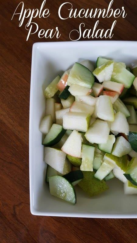 Apple pear cucumber salad is light and refreshing. The mix of fruits and vegetables is delightful for summer.