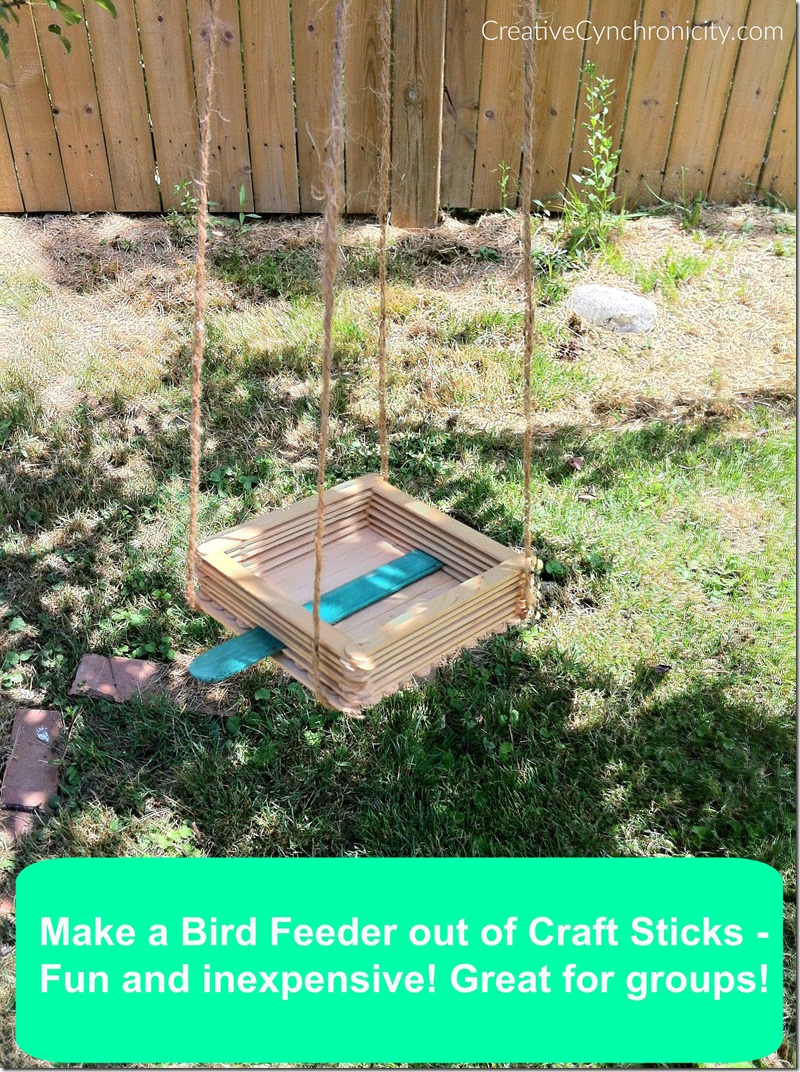 Make a bird feeder out of craft sticks. Perfect for kids. Inexpensive for groups, Scouts, Vacation Bible School, camps.