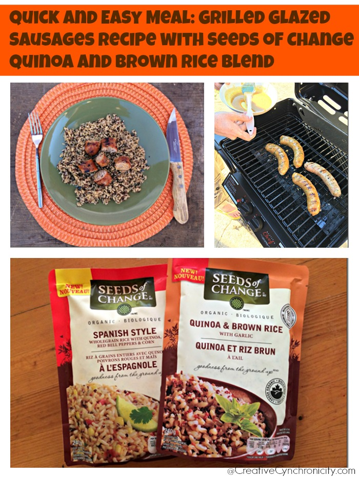 Grilled Glazed Sausages and Seeds of Change Quinoa and Brown Rice