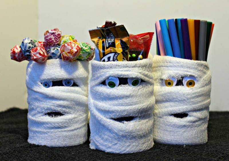 Halloween Mummy Cans for pencils, candies, and more