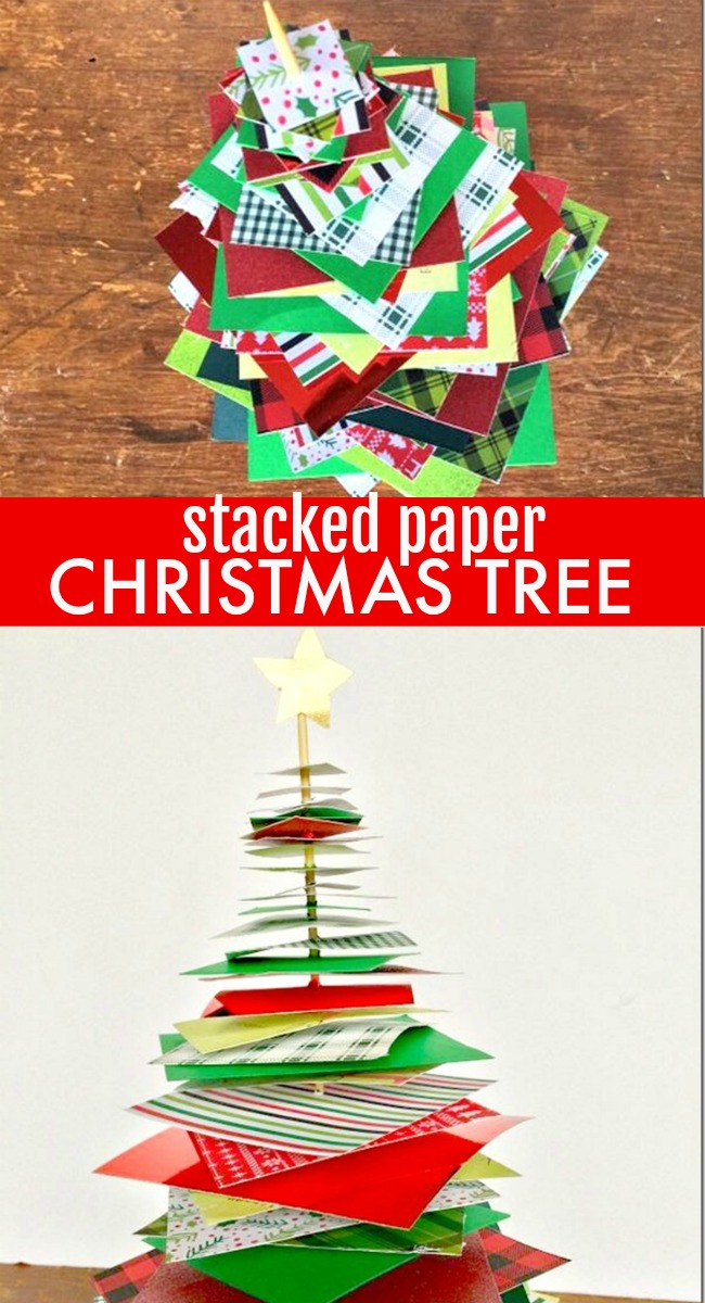 super simple 15 minute stacked paper Christmas tree