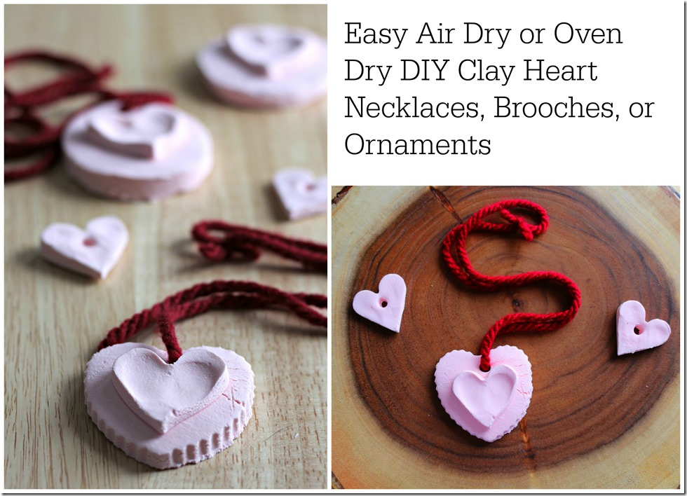 Simple Air Dry or Oven Dry Clay Hearts for Valentine's Day