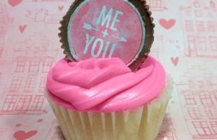 Cupcakes with Peanut Butter Cup Toppers for Valentine's Day