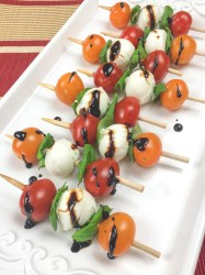 Traditional Caprese Salad Skewers with Balsamic Glaze