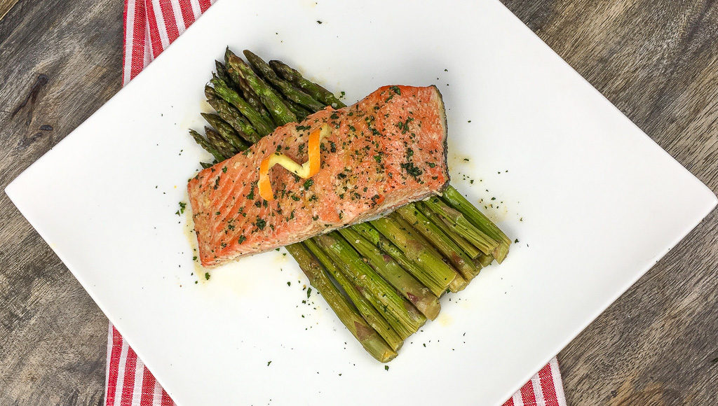 orange glazed salmon with asparagus