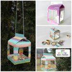 DIY Upcycled Milk Carton Washi Tape Bird Feeder