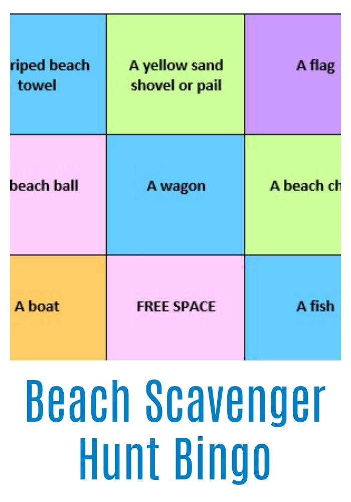 Beach Scavenger Hunt Bingo