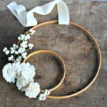 DIY Winter White Embroidery Hoop Wreath