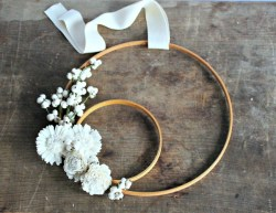 DIY Winter White Embroidery Hoop Wreath