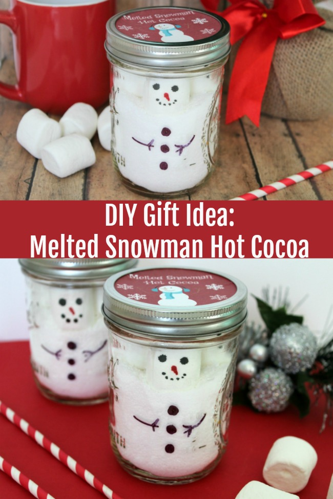 diy gift idea melted snowman hot cocoa mix