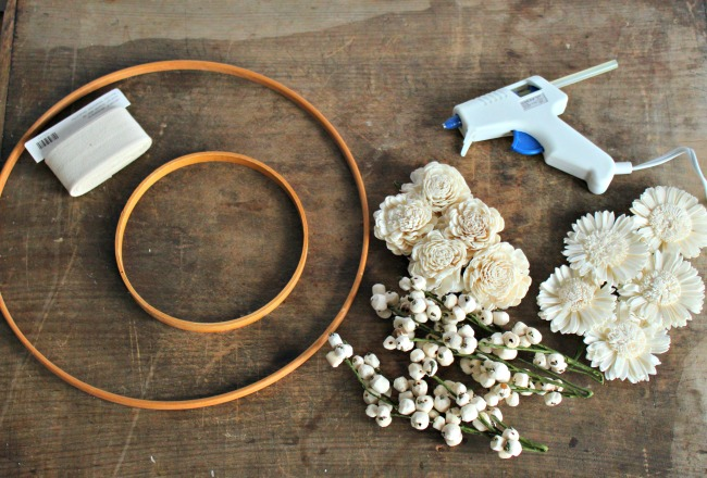what you need for embroidery hoop wreath