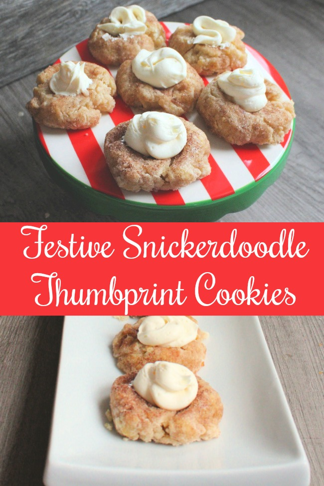 festive snickerdoodle thumbprint cookies