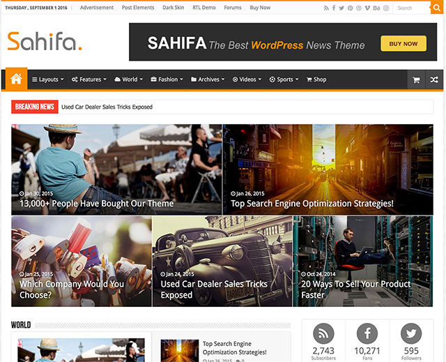 Sahifa - Responsive WordPress News theme