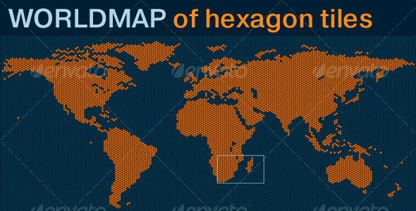 World map of hexagon tiles