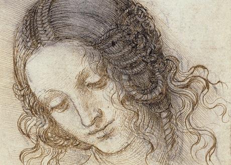 The head of Leda c.1505-6 Leonardo da Vinci.