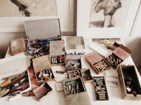 Lara Scouller, artist, dundee, inside studio, artist studio, scotland, drawing, 2013, uk, creative spaces, working spaces, art