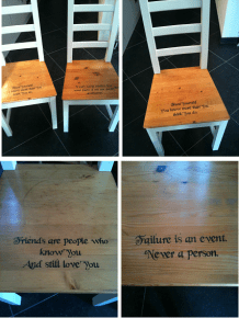 Chairs of Self-Esteem - Inspirational makeover for dining chairs.