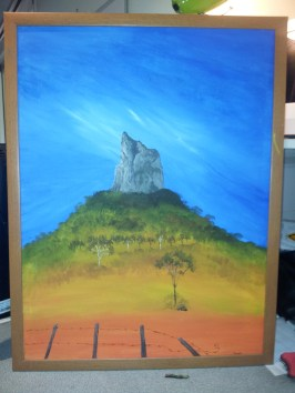 Here is one of my paintings of Coonowrin that I used as a guide for my felt 'painting'. I used this because the size was large enough for me to see without glasses lol, and also I knew the mountain detail was accurate.