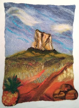 Completed wall hanging, with added details in embroidery and needle-felt.