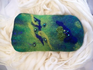 Green blue glasses case