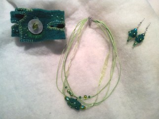 "Jewellery made with hand-made felt ""bead"", embroidery and beading."