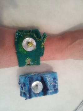 New green Rainforest cuff, next to the re-vamped Ocean blue cuff